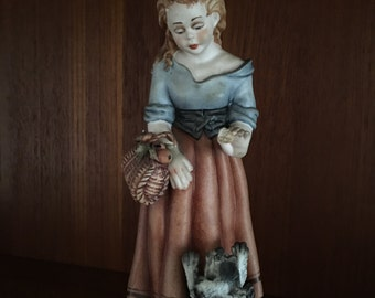 Capodimonte Girl with Dog - Complete with Certificate of Authenticity