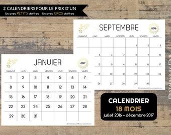 CALENDRIER digital 18 mois 2016-2017 pour imprimer, Simple et élégant en couleur or et noir