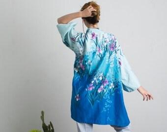 Stunning blue floral kimono
