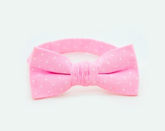 Pale Pink Bow Tie Ring Bearer Outfit Boys Wedding Outfit Bowtie Polka Dots