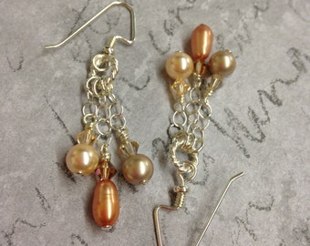 Peachy Coral Pearl and Sterling Silver Earrings