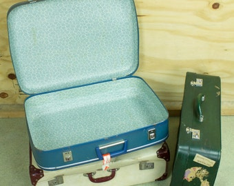 1960s Blue Suitcase with Dan-Air luggage label for London Gatwick