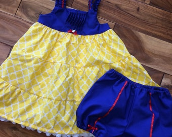 Snow White inspired sundress/top with matching diaper cover