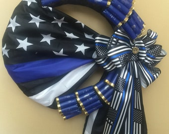 Police blue flag shotgun shell wreath to honor law enforcement