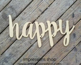 happy wood cutout