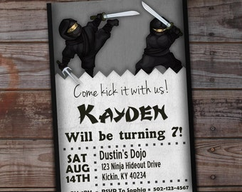 Ninja Birthday Invitation, Ninja Boy Birthday Boy, Karate Birthday Invitation, Ninja Party Invitation, Printable Birthday, Ninjas
