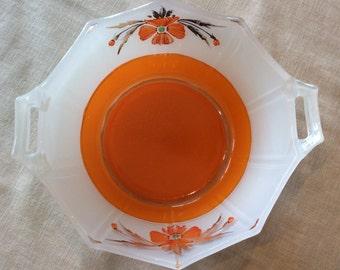 Art Deco Indiana glass handle serving bowl octogonal dish inverted orange paint poppy flowers pattern