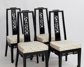 Chinoiserie Ming Style Dining Chairs / Hollywood Regency