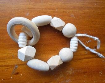 Wood baby teething rings