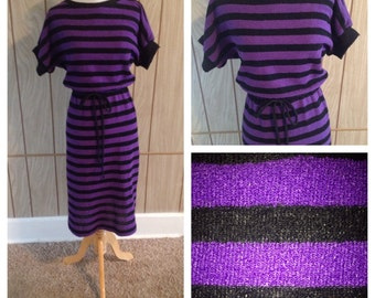 Vintage purple and black striped sweater pullover dress and belt - m