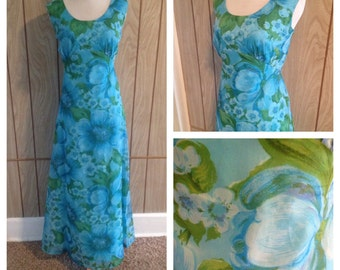 BEING HELD*** 70's empire waist fully lined floral maxi dress - m/l