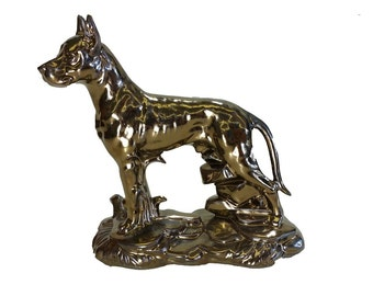Glazed Great Dane Figurine/Ceramic Cremation Urn.