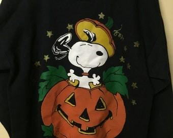 Vintage 1988 Snoopy Pumpkin Sweater Size L