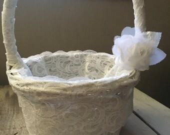 Lace flower girl basket