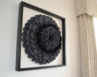 Framed 3D felt wall flower
