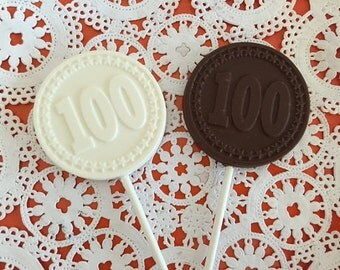 "Number ""100"" Chocolate Lollipops - 100th Birthday Party - 100th Anniversary Party- 100th Celebration - Number 100 Party Favor/Company Party"