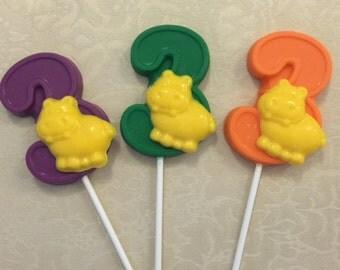 "NUMBER THREE ""HIPPO"" Chocolate Lollipop - Hippo Favors/ Party Favors/Safari Birthday/Zoo Animals/Children's Zoo Party/Third Birthday"