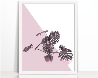 Monstera Plant, pink, Watercolor, Scandinavian, Art Printable, Wall Decor, Home Decor, plant