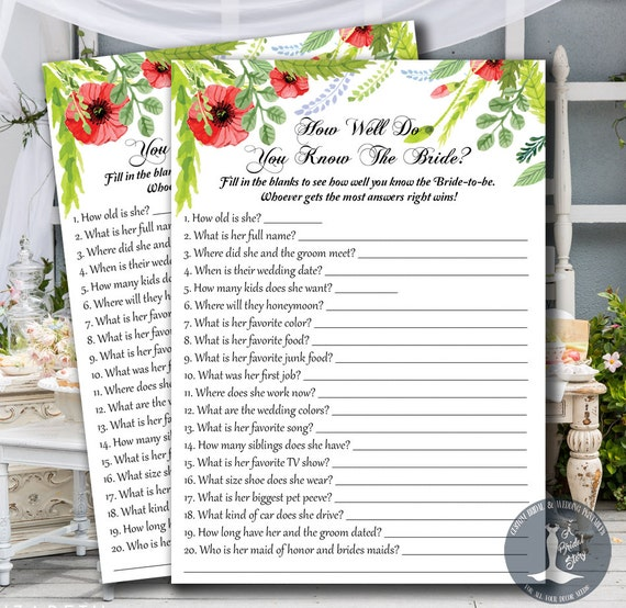 How Well Do You Know The Bride Bridal Shower Game By