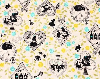 Alice in Wonderland & Rose Fabric made in Japan / Half Yard 18inch x 43inch