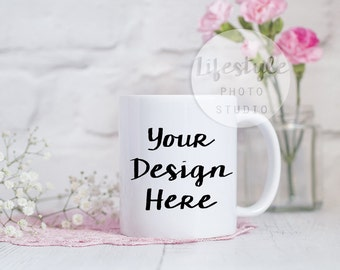 Mug Stock Photography / Styled Mug Mock Up / Blank Mug Background / Pink Flowers