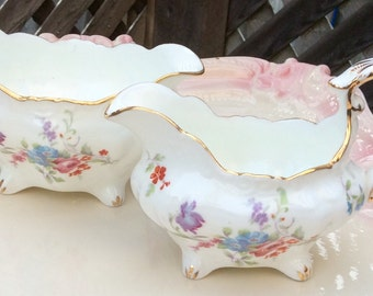 Pretty in Pink-Hammersley & Co Footed Creamer and Sugar Bowl