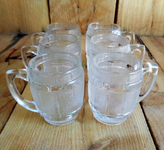 Whiskey Barrel Shot Glasses Vintage Barware Liquor Cabinet
