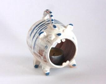 Ceramic Candlestick/ Tiger Candle Holder / Cat Candlestick/ Pottery Candlestick/ Match Holder