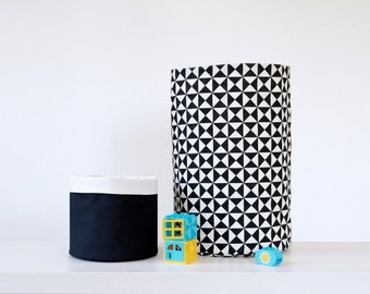 Set of 2 Nursery Monochrome Black&White Cotton Baskets, Large Toy storage basket, Fabric diapers storage bin, Nursery storage, Nursery decor
