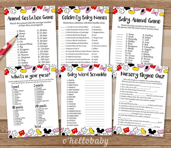 Baby Shower Games Package Disney Theme Baby Shower By