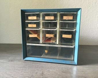 Vintage Metal Cabinet, Drawers , photo prop