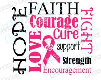 Breast cancer awareness svg / cancer svg / cancer survivor svg / cancer support svg / cancer silhouette file / breast cancer cut file