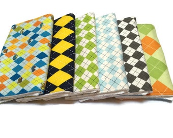 Baby Burp Cloths, Burp Rags, Set of 6, baby accessories, baby bibs, Changing Pad, Baby Gift, baby shower gift,  baby boy gift, argyle bibs