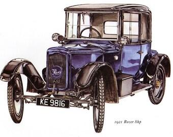 Antique Car Vintage Bookplate Print *1921 Rover 8 hp* Vintage Motorcars Colorful, Detailed Peter Griffin Illustration Home Decor