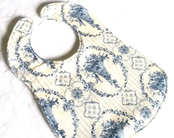 reversible bib Terry cotton and cream and blue fabric