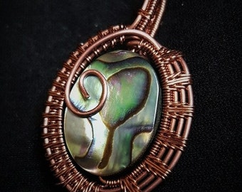 Abalone Paua Shell wrapped in Copper