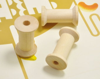 Wood Spool,10pcs Large wooden spools,Unfinished Natural wooden spool bead-40x23mm