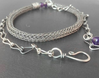 Viking knit necklace - wire jewelry - silver-filled and amethyst