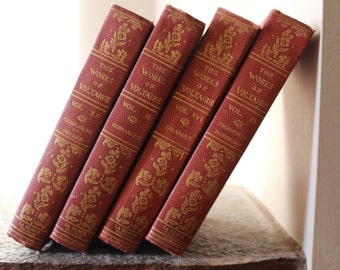 The Works of Voltaire vintage rare book set