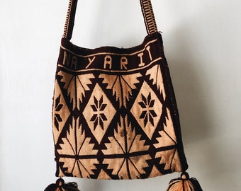 Ethnic knit cross carry tote