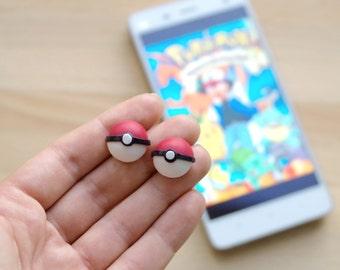 Pokemon earrings -cute pokeball  stud earrings from polymer clay, pokemon go