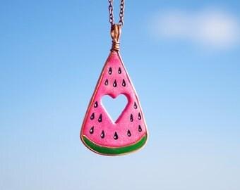 Cute watermelon pendant, fruit necklace, watermelon jewelry, heart pendant