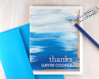 Personalized Stationery Set, Abstract Watercolor Stationary, Ocean Waves Blue Watercolor Wash, Stationery for Men, Thank You Cards Set of 10
