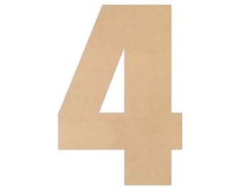"""1"""" - 34"""" Wooden Number 4, Nursery, Kids Room, Wedding Decoration, Large or Small, Ornaments, DIY, Unfinished Wood, Door Wall Hanger # 2077"""