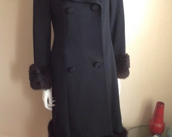 Vintage AB BATZ Elegance d Europe Black Wool Blend with Fur Coat size 6 - 8