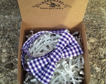 Boys Purple Plaid Bowtie