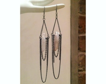 Black Chain Swing Earrings with Quartz Crystal