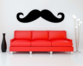 Mustache wall decal vinyl sticker wall art mural available in 13 different sizes and 30 different colors