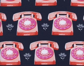 Cotton + Steel- Trinket- Telephone in Navy - Melody Miller