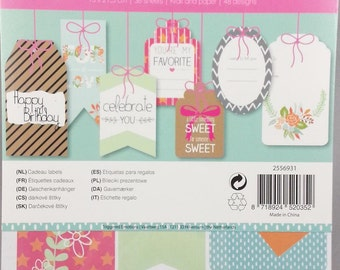 270 gift tags in a block, labels, gift tags for scrapbooking and card making, gifts decorate (thanks)